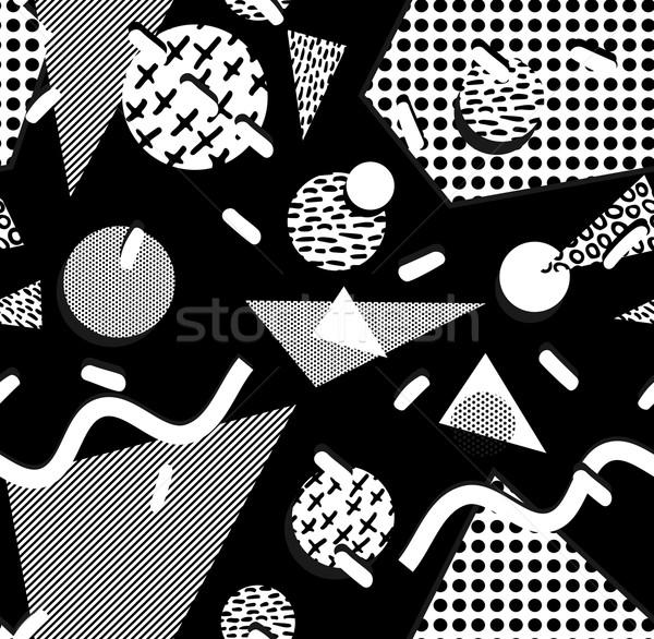 80 modèle géométrie forme blanc noir rétro Photo stock © cienpies