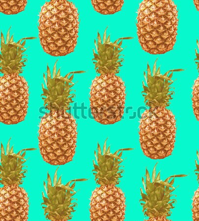 Trendy summer pineapple background with sunglasses Stock photo © cienpies