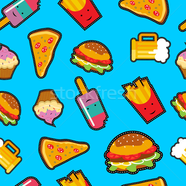 Fast food background with cute cartoon elements Stock photo © cienpies