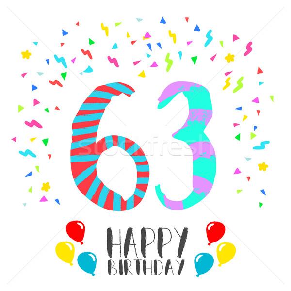 Happy Birthday for 63 year party invitation card Stock photo © cienpies