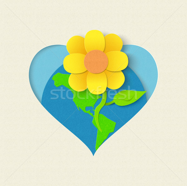 Earth day paper cut flower environment concept Stock photo © cienpies