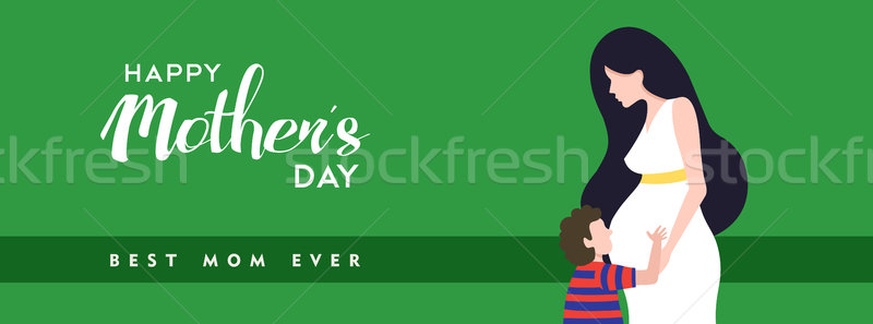 Happy mothers day pregnant mom banner illustration Stock photo © cienpies