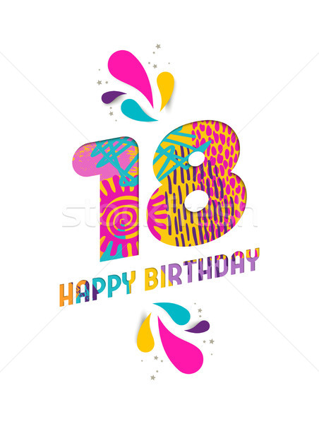 Happy birthday 18 year paper cut greeting card Stock photo © cienpies