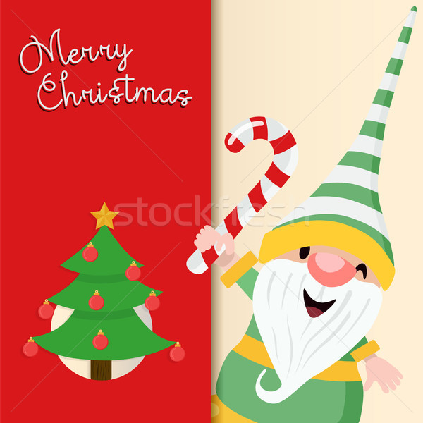 Christmas wenskaart cute vakantie elf cartoon Stockfoto © cienpies