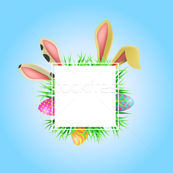 Happy Easter card frame template with cute bunny Stock photo © cienpies