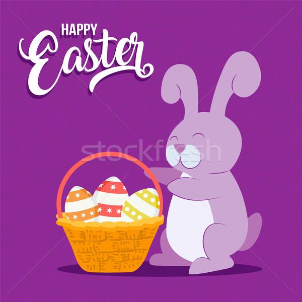 Kellemes húsvétot kártya jókedv nyúl kosárnyi tojás üdvözlőlap Stock fotó © cienpies