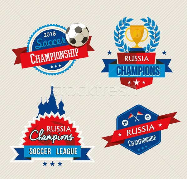 Rússia futebol jogo campeonato etiqueta conjunto Foto stock © cienpies