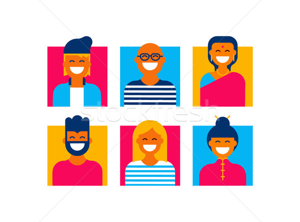 Flat global people icon set from diverse cultures Stock photo © cienpies
