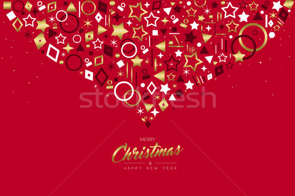 Christmas and New Year gold icon ornament card Stock photo © cienpies