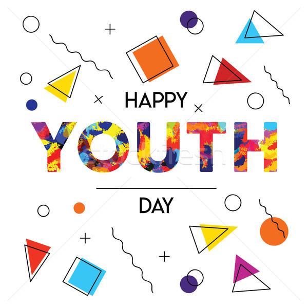 счастливым молодежи день аннотация ретро карт Сток-фото © cienpies