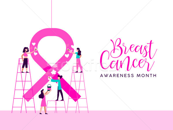 Breast Cancer Awareness girl charity team concept  Stock photo © cienpies