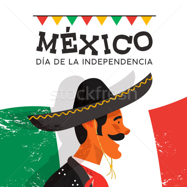 Mexico dag kaart man illustratie traditioneel Stockfoto © cienpies