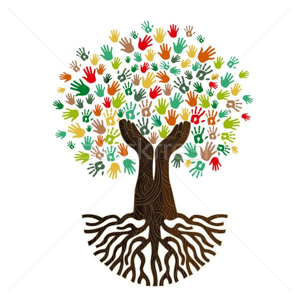 Mano umana albero cultura diversità colorato umani Foto d'archivio © cienpies