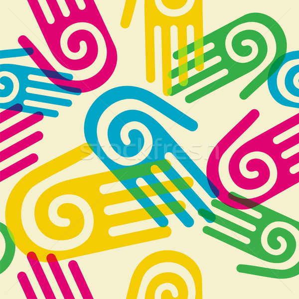 Colorful Pattern hands with spiral symbol Stock photo © cienpies