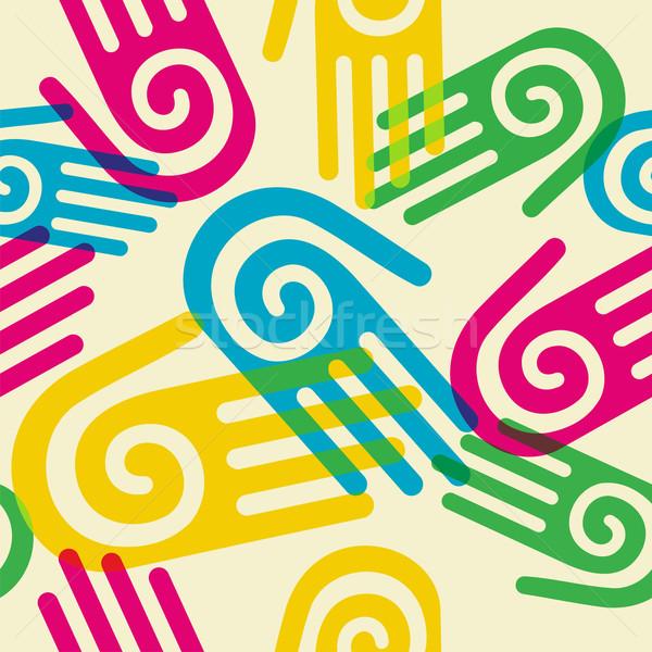 Színes minta kezek spirál szimbólum pálma Stock fotó © cienpies