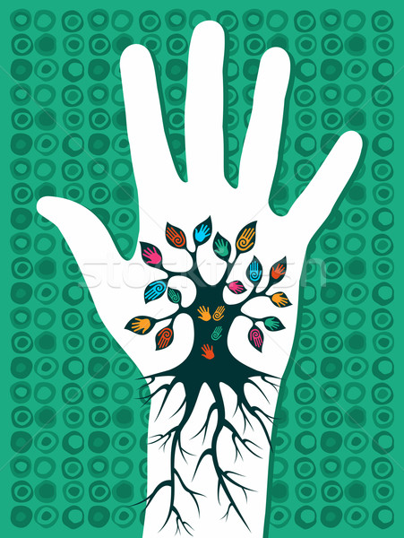 зеленый стороны дерево корней вены Сток-фото © cienpies