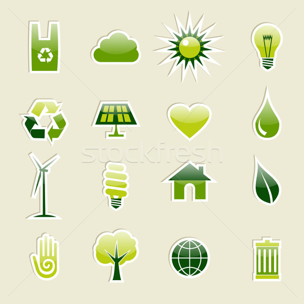 Green environment icons set Stock photo © cienpies