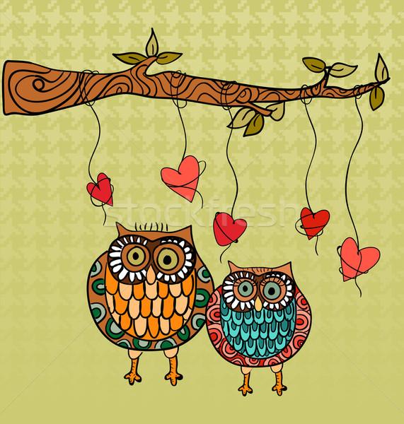 Foto stock: Coruja · amor · valentine · dia · corujas