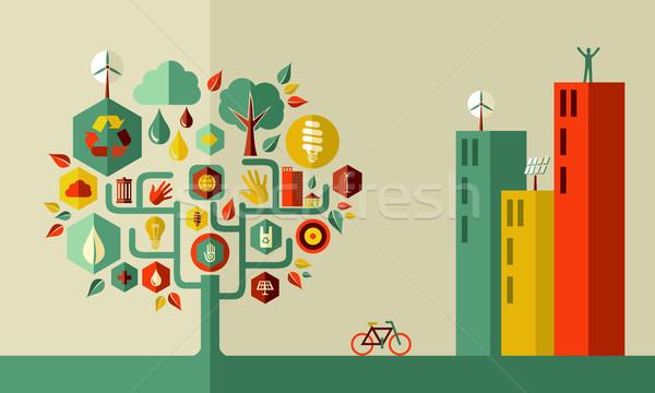 Green city concept Stock photo © cienpies