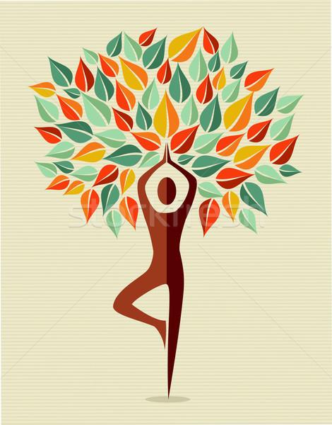 Hindistan renkli yoga yaprak ağaç insan Stok fotoğraf © cienpies