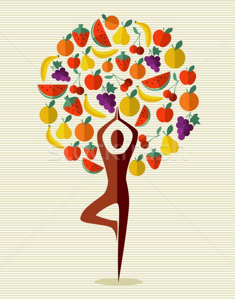 Índia ioga árvore frutífera humanismo forma exercer Foto stock © cienpies