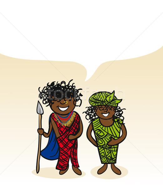 Kenyan cartoon couple social bubble  Stock photo © cienpies