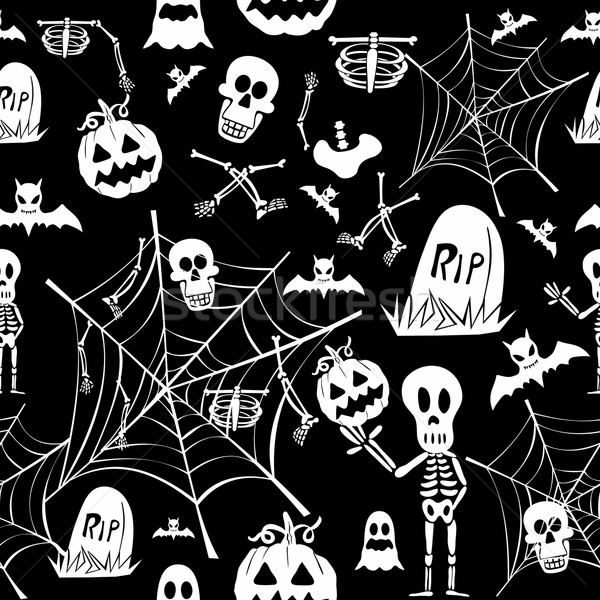Stock photo: Happy Halloween elements seamless pattern background EPS10 file.