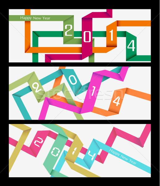 с Новым годом 2014 красочный аннотация баннер праздников Сток-фото © cienpies