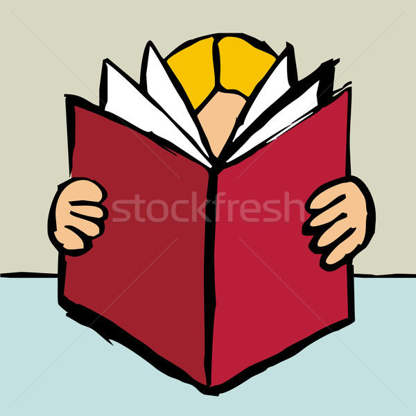 Person reading a big red book Stock photo © cienpies