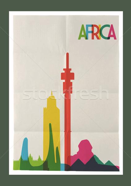 Travel Africa landmarks skyline vintage poster Stock photo © cienpies