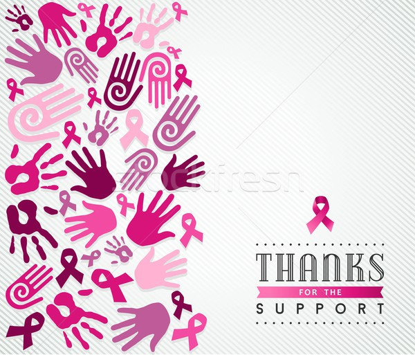 Breast cancer campaign poster pink hand ribbon Stock photo © cienpies