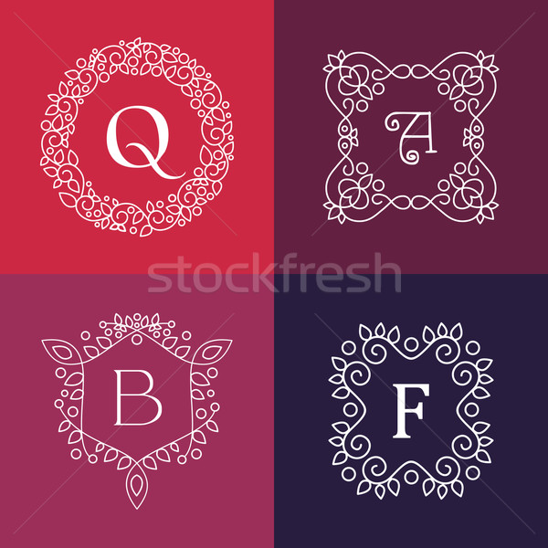 Ornament monogram mono line floral frame set Stock photo © cienpies
