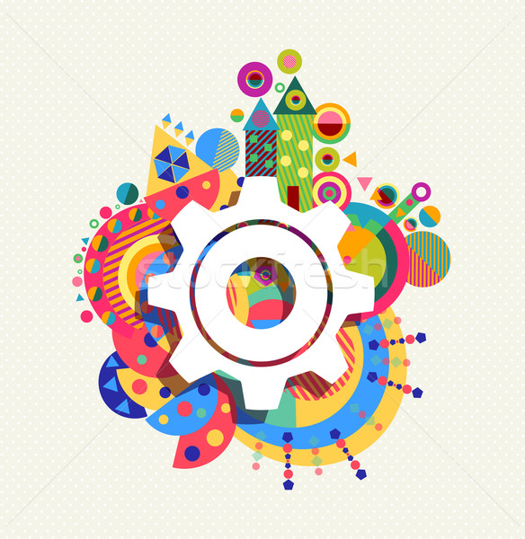 Gear wheel icon concept color shape background Stock photo © cienpies