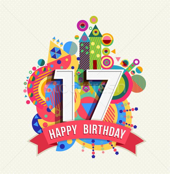 Feliz cumpleaños 17 año tarjeta de felicitación anunciante color Foto stock © cienpies