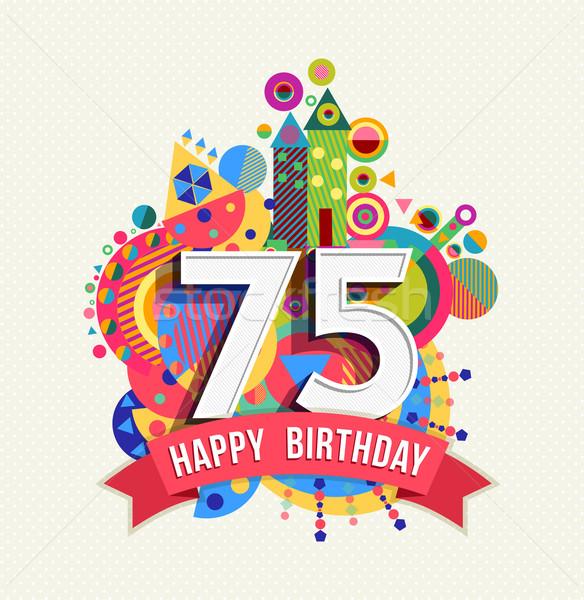 Сток-фото: С · Днем · Рождения · год · плакат · цвета · пять