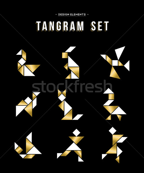 Classic tangram game icon set in gold color Stock photo © cienpies