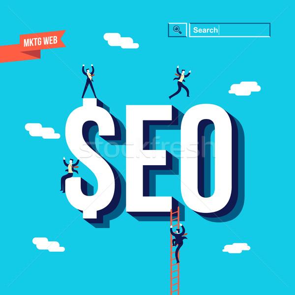 üzlet seo internet marketing illusztráció marketing üzletember Stock fotó © cienpies