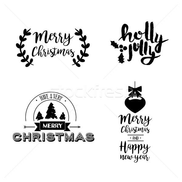 Noël fêtes art citer joyeux Photo stock © cienpies