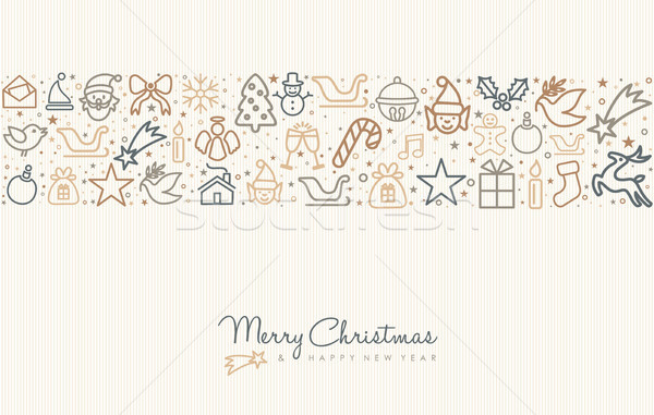 Stock photo: Christmas and new year line art icon greeting card