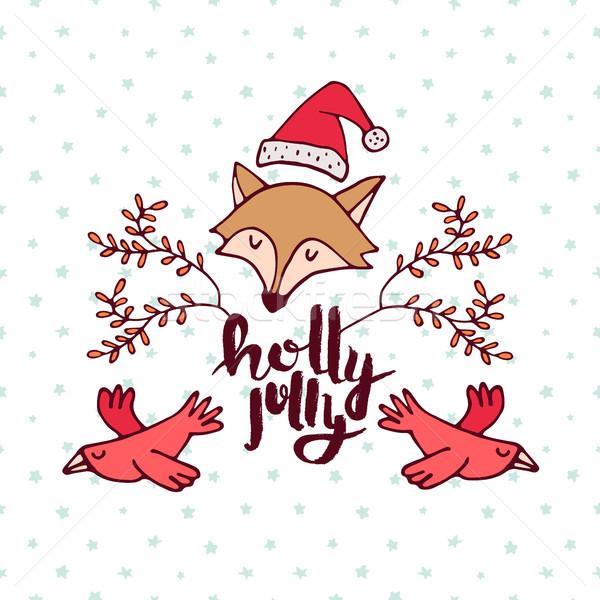 Christmas bos vos cartoon vakantie wenskaart Stockfoto © cienpies