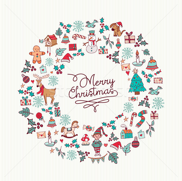 Christmas hand drawn cute holiday wreath card art Stock photo © cienpies