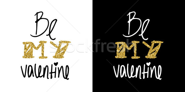 Gold glitter valentines day greeting card quote Stock photo © cienpies