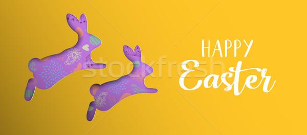 Buona pasqua vacanze banner carta arte coniglio Foto d'archivio © cienpies