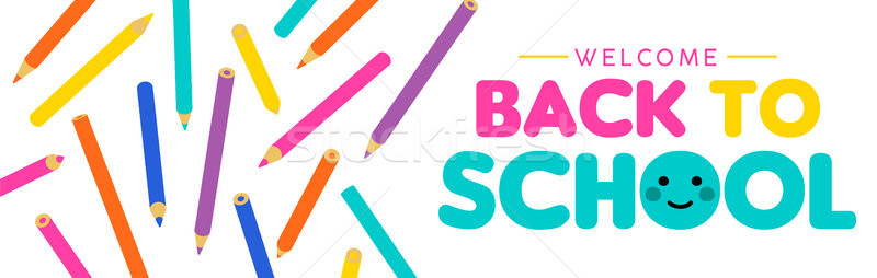 Back to school children color pencil web banner  Stock photo © cienpies