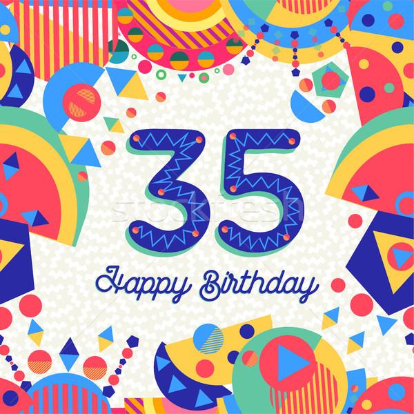 Trente cinquième année fête d'anniversaire carte de vœux joyeux anniversaire Photo stock © cienpies