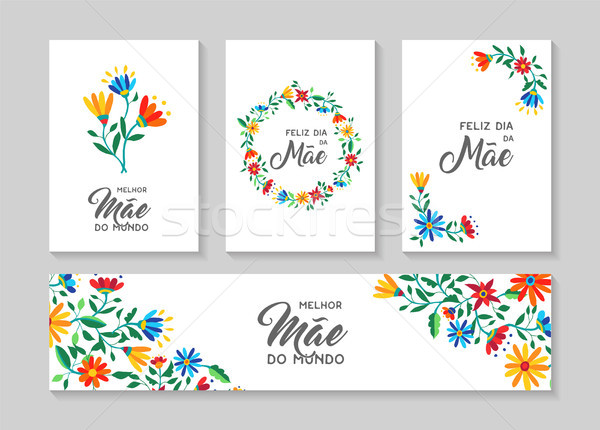 Happy mother day portuguese flower art card set Stock photo © cienpies