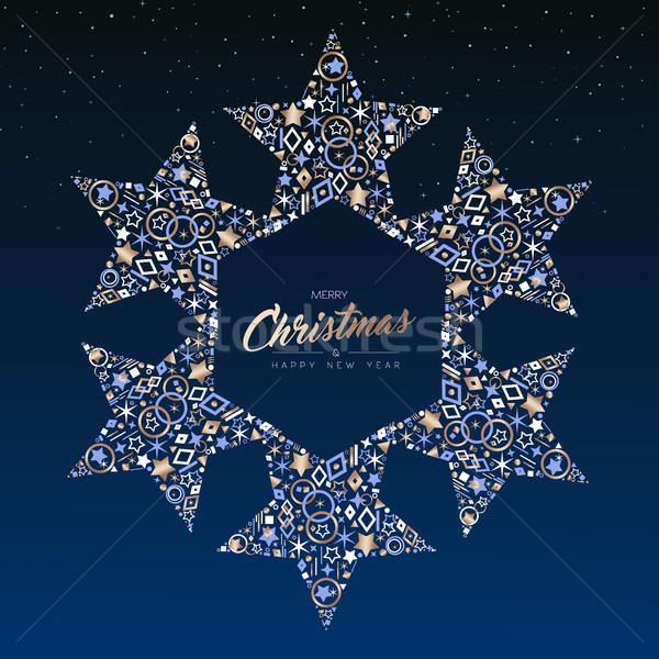 Navidad año nuevo cobre estrellas decoración tarjeta Foto stock © cienpies
