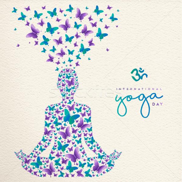 Yoga day card of lotus pose meditation exercise Stock photo © cienpies
