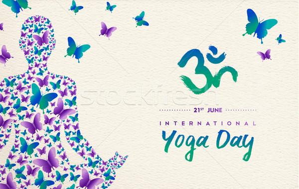 йога день карт девушки Lotus создают Сток-фото © cienpies