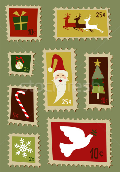 Christmas postage stamps set  Stock photo © cienpies
